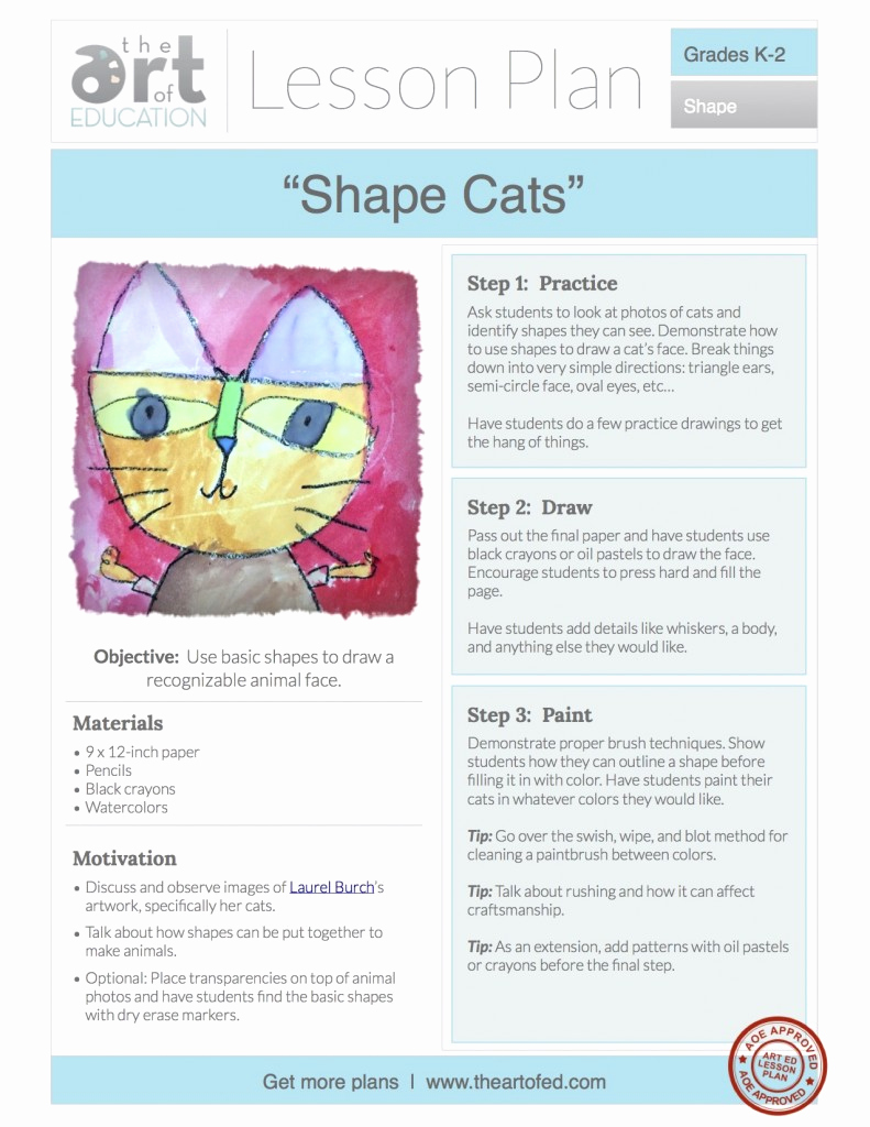 Lesson Plans for Kindergarten New Shape Cats Free Lesson Plan Download the Art Of Ed