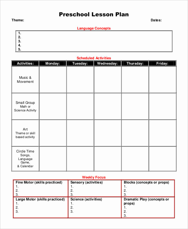 Lesson Plans for toddlers Awesome 10 Printable Preschool Lesson Plan Templates Free Pdf