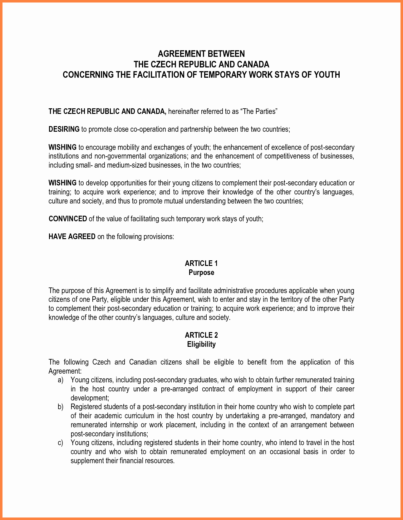 Letter Of Agreement Template Fresh 10 Letter Of Agreement Template Between Two Parties