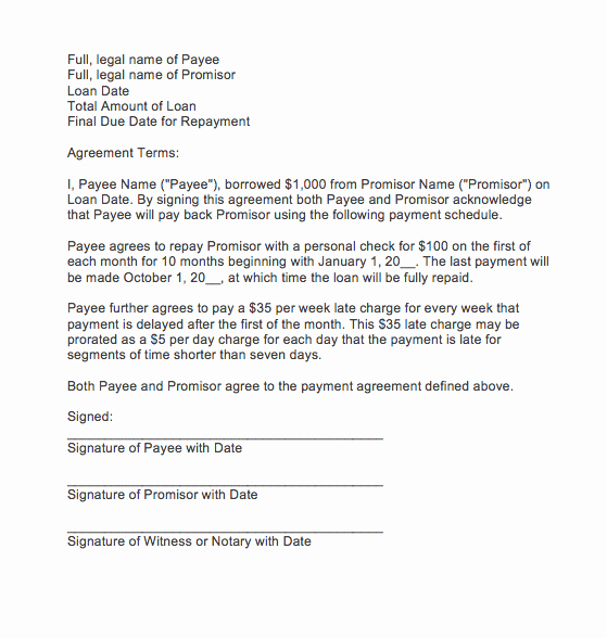 Letter Of Agreement Template Fresh Letter Of Agreement for Payment