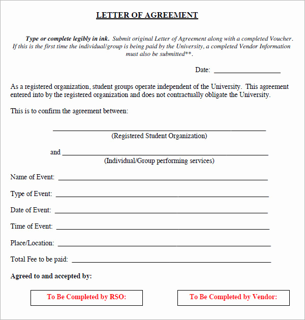 Letter Of Agreement Template Unique 16 Letter Of Agreement Templates Pdf Doc