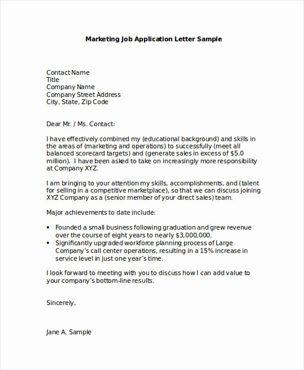 Letter Of Application Example Awesome 52 Application Letter Examples & Samples Pdf Doc