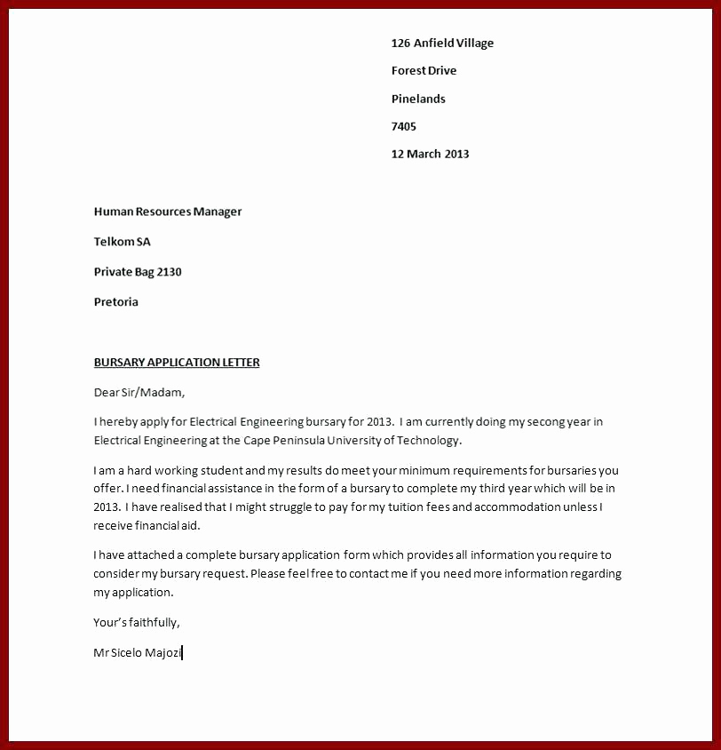 Letter Of Application Example Beautiful 8 Example Of Application Letter for Bursary