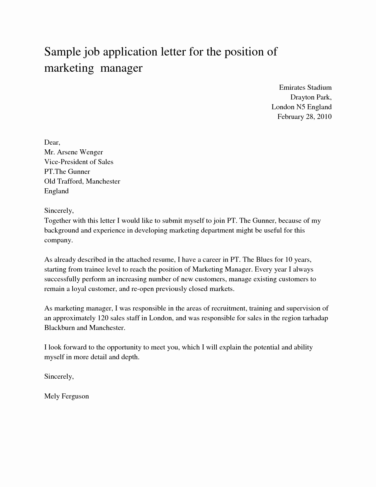 Letter Of Application Template Unique Download Free Application Letters
