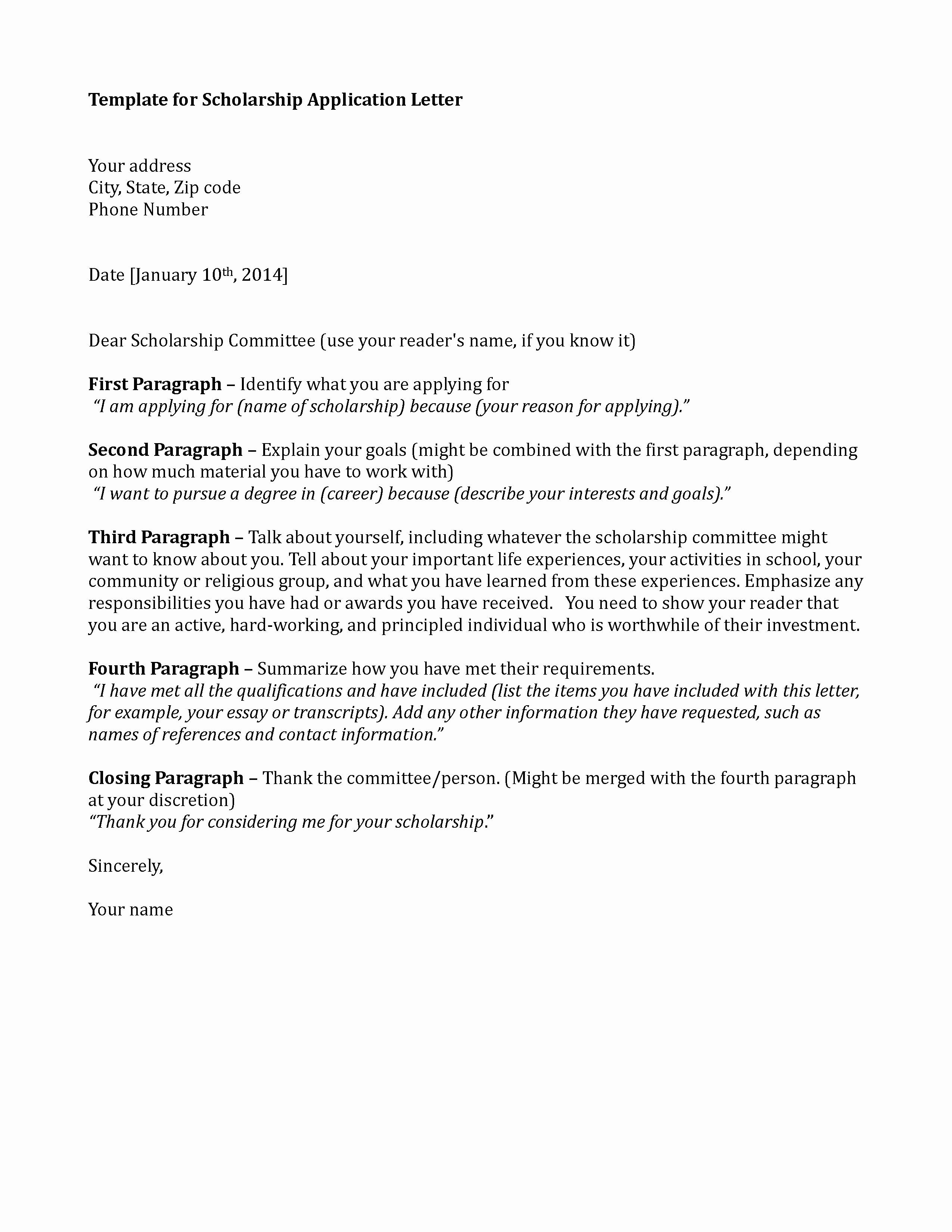 Letter Of Applications Examples Best Of Scholarship Application Template Sample Application Letter