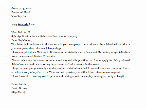 Letter Of Applications Examples Luxury Simple Application Letter Sample for Any Vacant Position