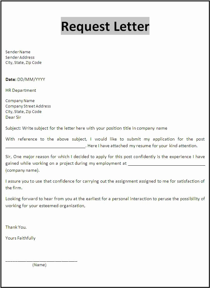 Letter Of Employment Templates Awesome Request Letter Template