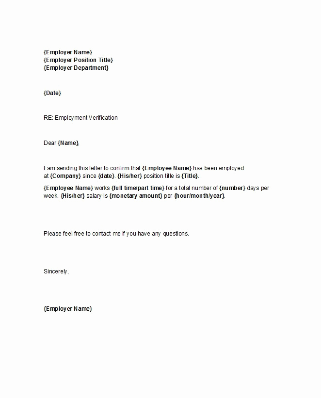 Letter Of Employment Templates Best Of 40 Proof Of Employment Letters Verification forms