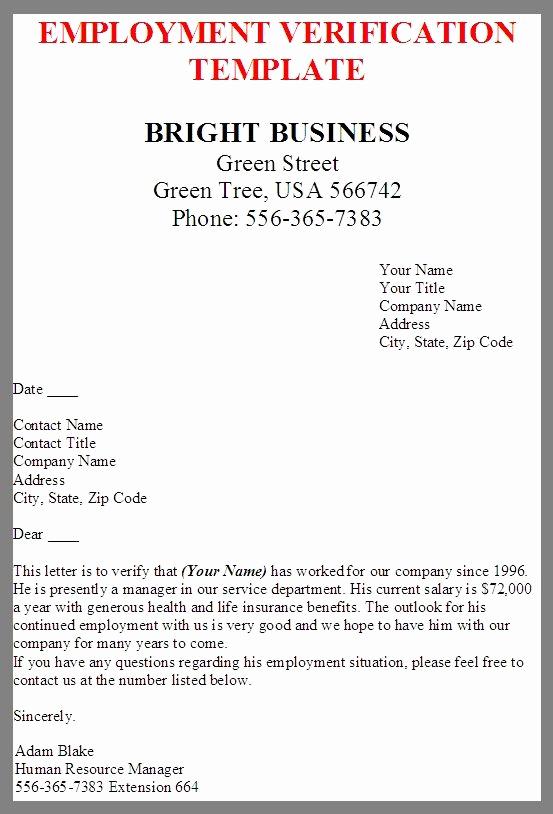 Letter Of Employment Templates Elegant Printable Sample Letter Employment Verification form