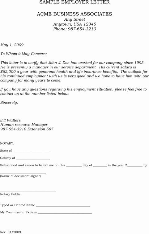 Letter Of Employment Templates Luxury Employment Verification Letter Sample