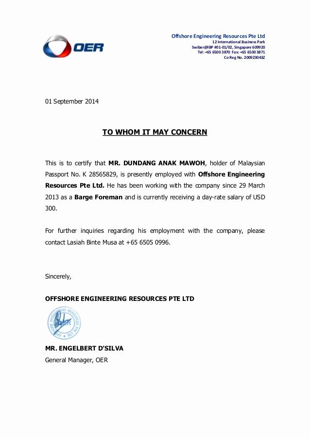 Letter Of Employment Templates New Dundang Anak Mawoh Cert Of Employment Letter