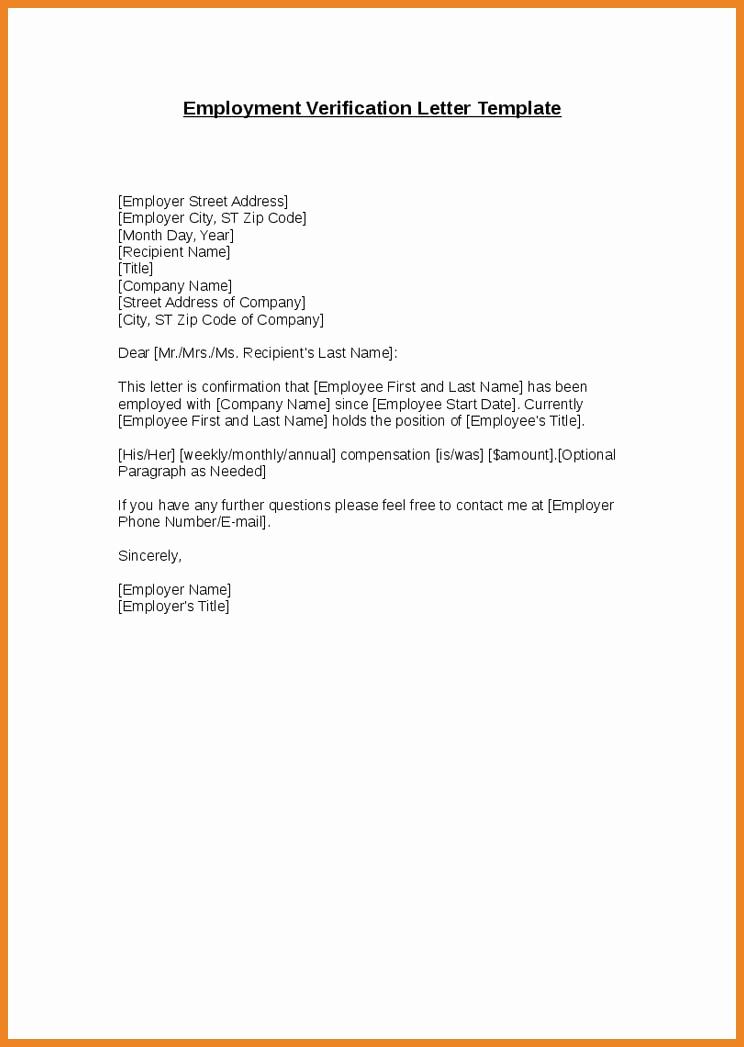 Letter Of Employment Templates Unique 9 Verification Of Employment Letter Examples Pdf