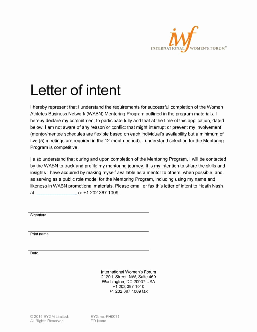 Letter Of Intent for Business Luxury 40 Letter Of Intent Templates & Samples [for Job School
