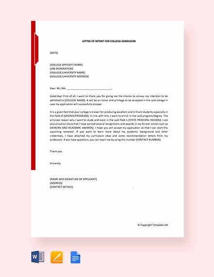 Letter Of Intent for Colleges Fresh 10 Sample College Letter Intent Pdf Doc