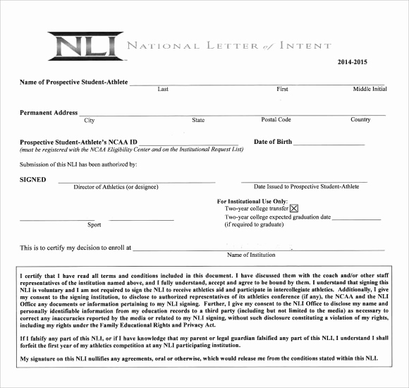 Letter Of Intent for Colleges Fresh Sample National Letter Of Intent 9 Free Documents In