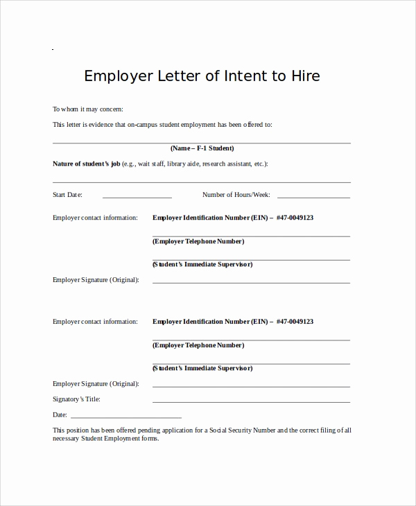 Letter Of Intent to Hire Beautiful Letter Intent to Hire Template 11 Sample Employment