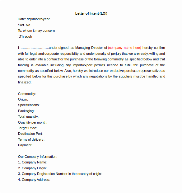 Letter Of Intent to Hire Elegant Free Intent Letter Templates 18 Free Word Pdf