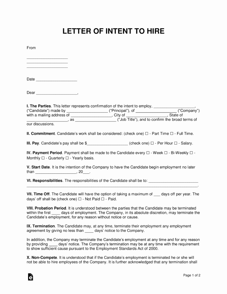 Letter Of Intent to Hire Elegant Free Intent to Hire Letter Of Intent Template Pdf