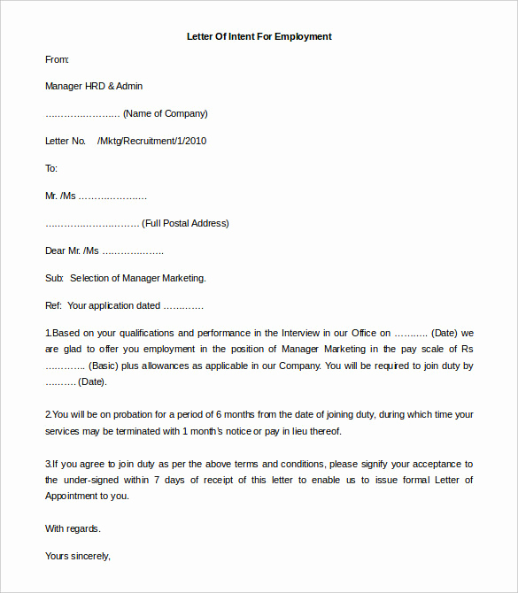Letter Of Intent to Hire Inspirational 11 Free Employment Letter Template Doc Pdf