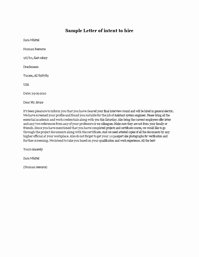 Letter Of Intent to Hire Unique Free Letter Intent to Hire
