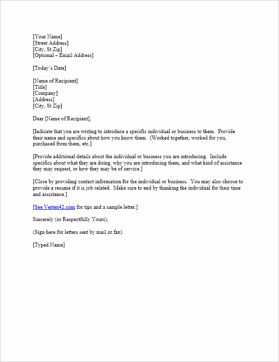 Letter Of Introduction Example Best Of Free Letter Of Introduction Template