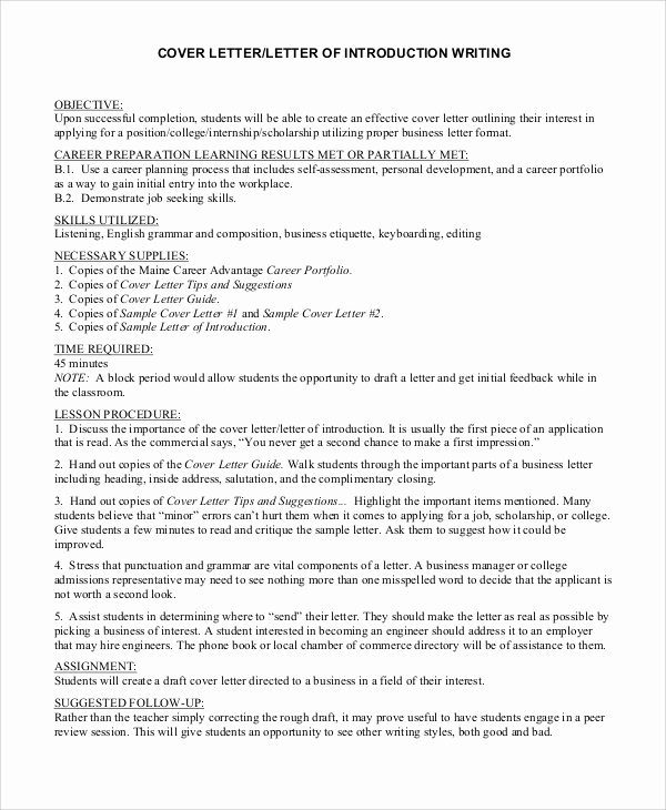 Letter Of Introduction Example Lovely 8 Cover Letter Introduction Samples