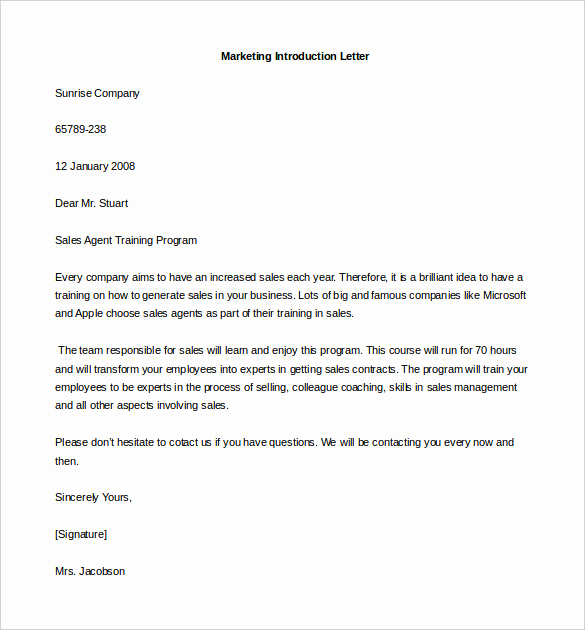 Letter Of Introduction Example Lovely Introduction Email to Client Template 5 Free Samples
