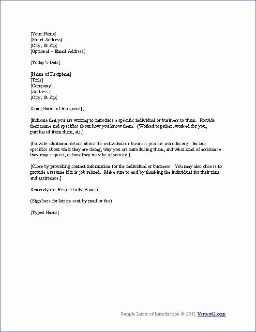 Letter Of Introduction for Employment Unique Free Letter Of Introduction Template