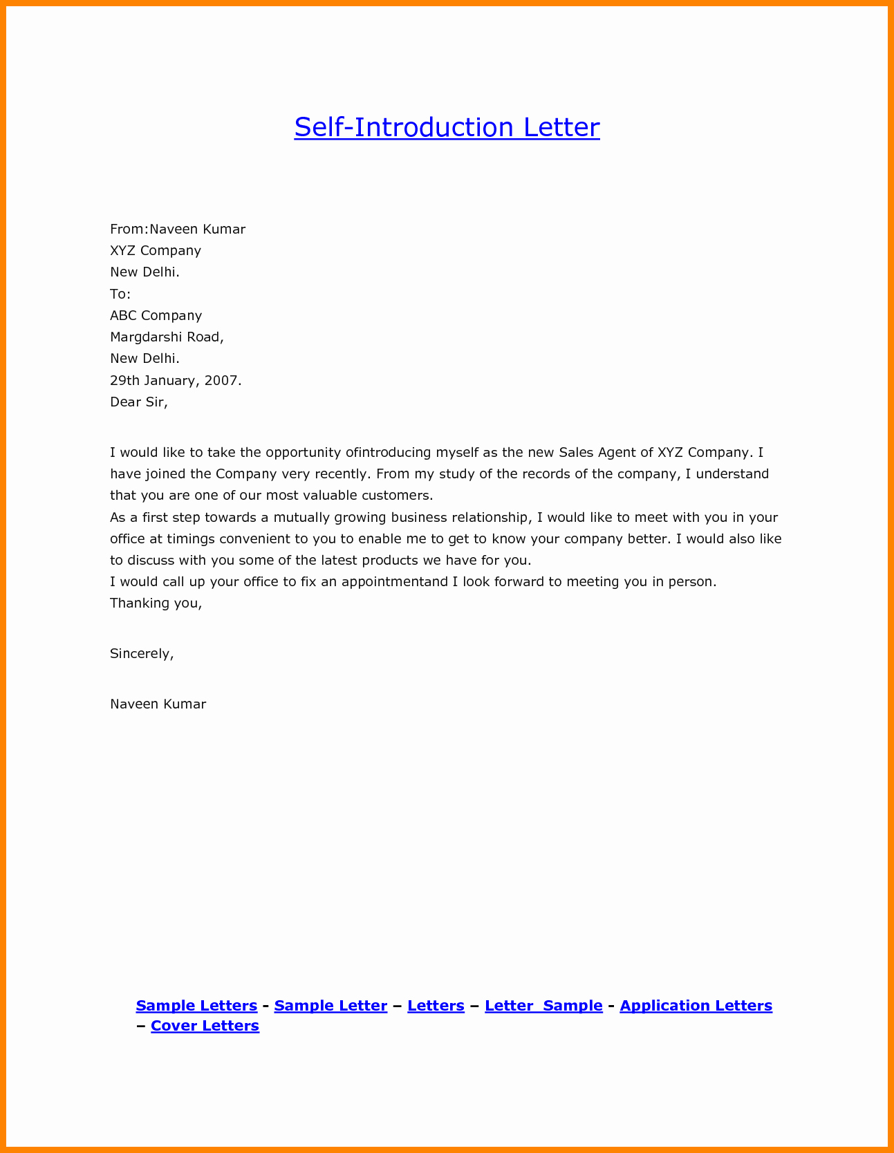 Letter Of Introduction for Yourself Best Of 5 Self Introduction Email to Colleagues