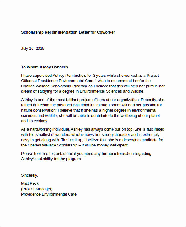 Letter Of Recommendation for Colleague Awesome Coworker Re Mendation Letter 10 Free Word Pdf