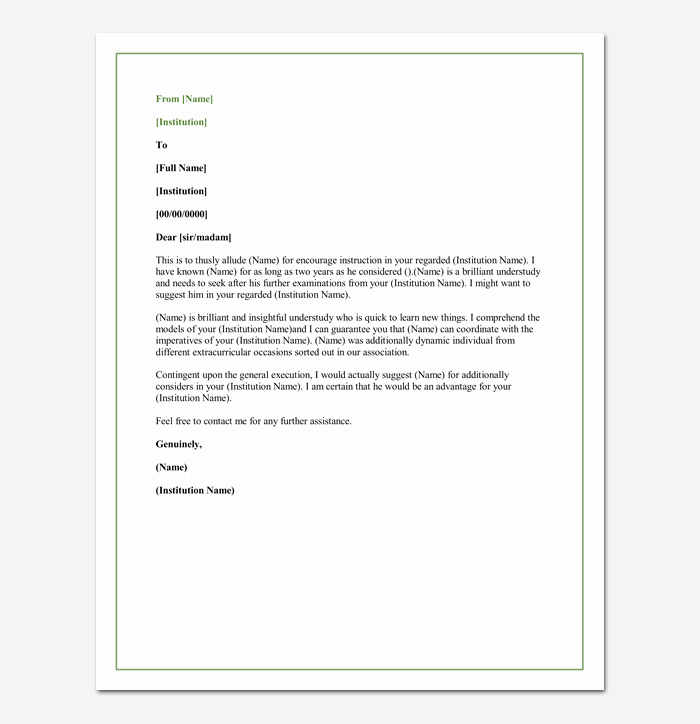 Letter Of Recommendation for Colleague Elegant Letter Of Re Mendation for A Graduate School 5 Sample