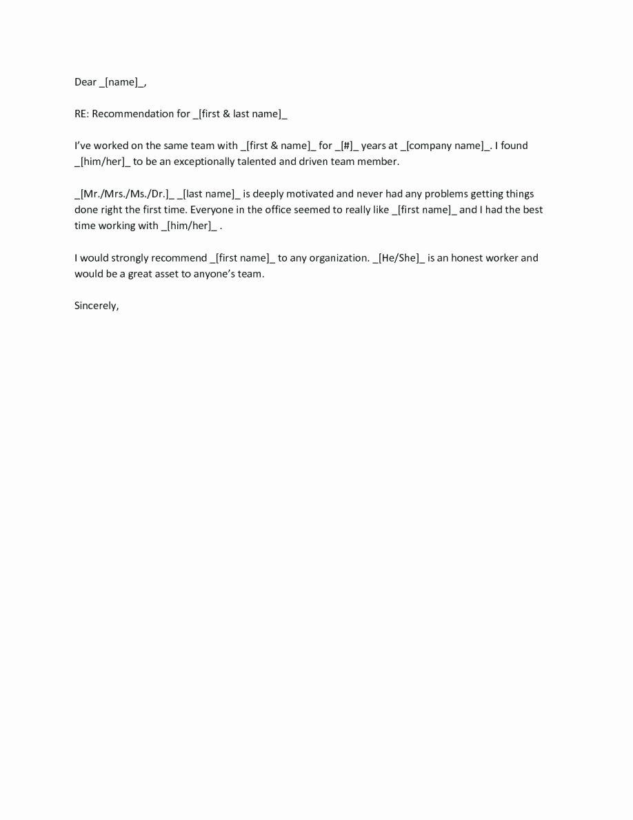 Letter Of Recommendation for Colleague Fresh Coworker Reference Letter Examples New Employee for Job