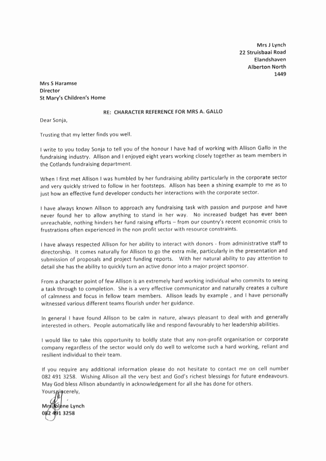 Letter Of Recommendation for Colleague Lovely Character Reference Colleague at Cotlands