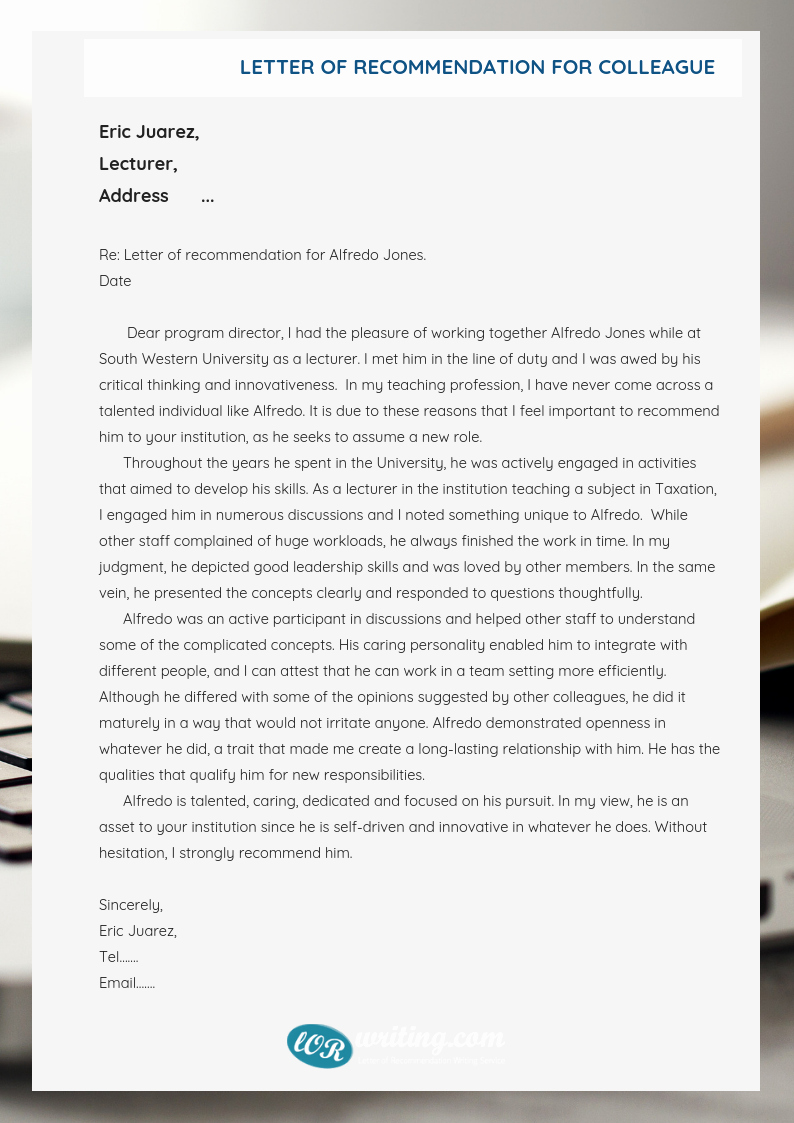 Letter Of Recommendation for Colleague New Colleague Letter Of Re Mendation Help