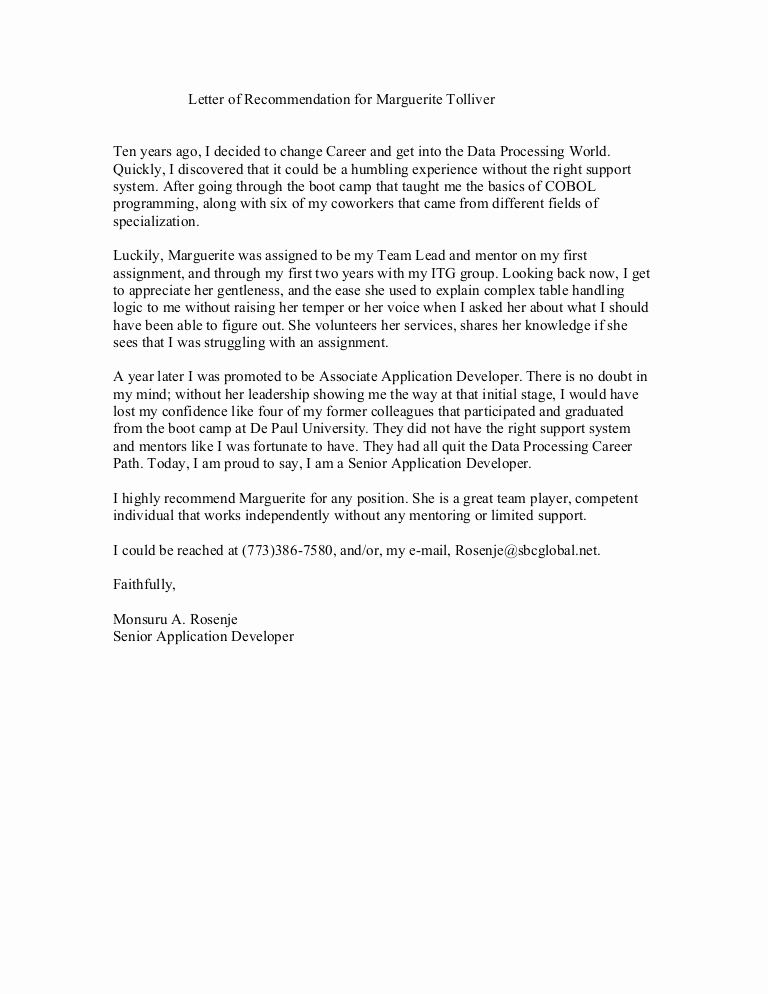 Letter Of Recommendation for Colleague New Reference Letter From Co Worker