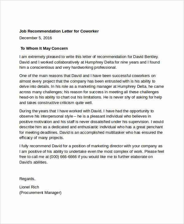 Letter Of Recommendation for Colleague Unique Coworker Re Mendation Letter 10 Free Word Pdf