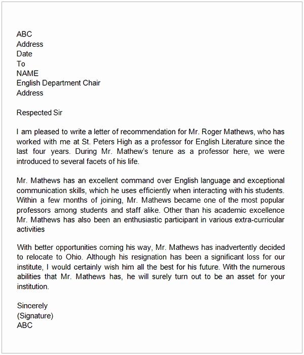 Letter Of Recommendation for Colleague Unique Letter Of Re Mendation for A Teacher Colleague