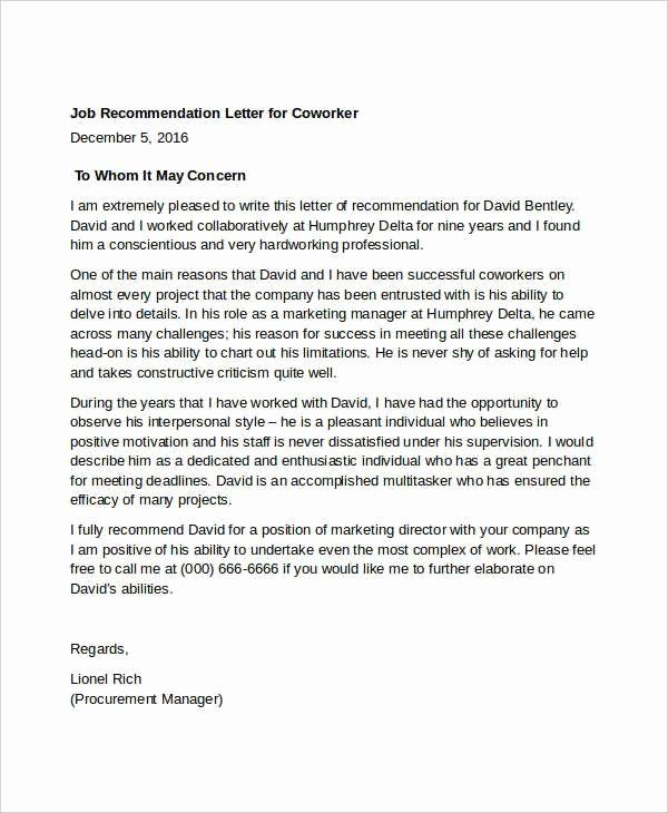 Letter Of Recommendation for Colleague Unique Letter Re Mendation for Coworker