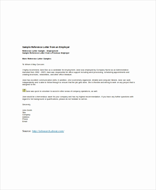 Letter Of Recommendation From Employer Awesome 6 Sample Employer Re Mendation Letter Free Sample