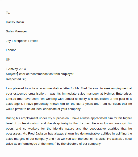 Letter Of Recommendation From Employer Best Of 9 Professional Letter Of Re Mendation to Download for