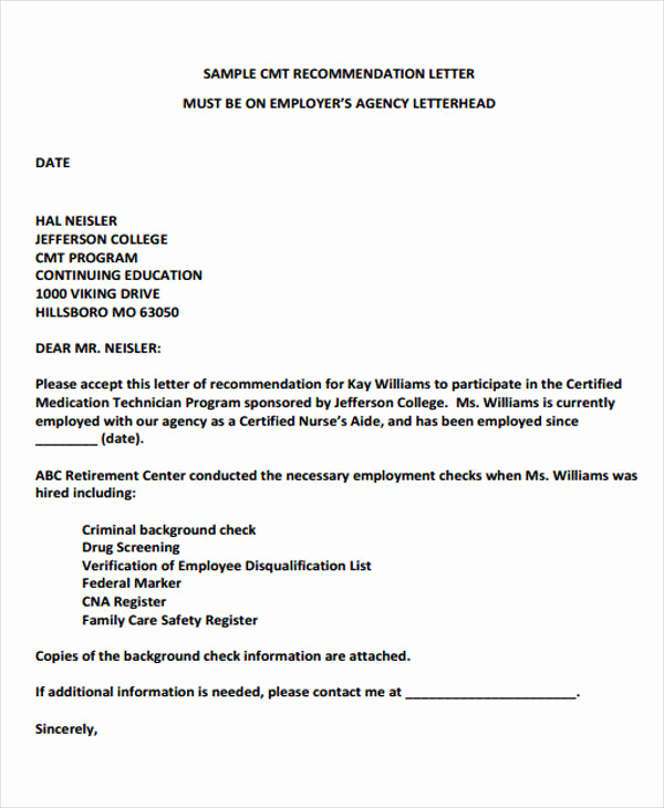 Letter Of Recommendation From Employer Best Of Employer Re Mendation Letter Sample 9 Examples In