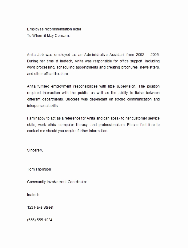 Letter Of Recommendation From Employer Elegant 50 Best Re Mendation Letters for Employee From Manager