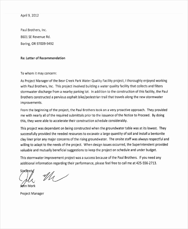 Letter Of Recommendation From Employer Luxury 10 Employee Re Mendation Letter Template 10 Free
