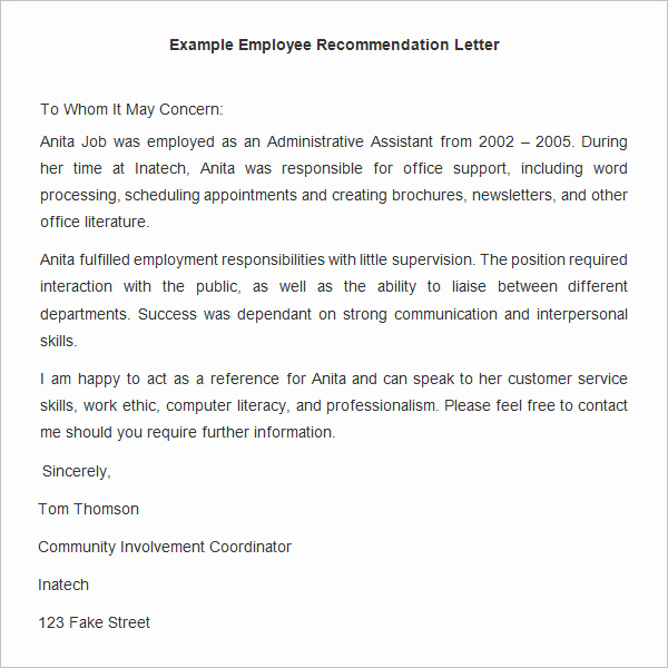 Letter Of Recommendation From Employer Unique 18 Employee Re Mendation Letters Pdf Doc