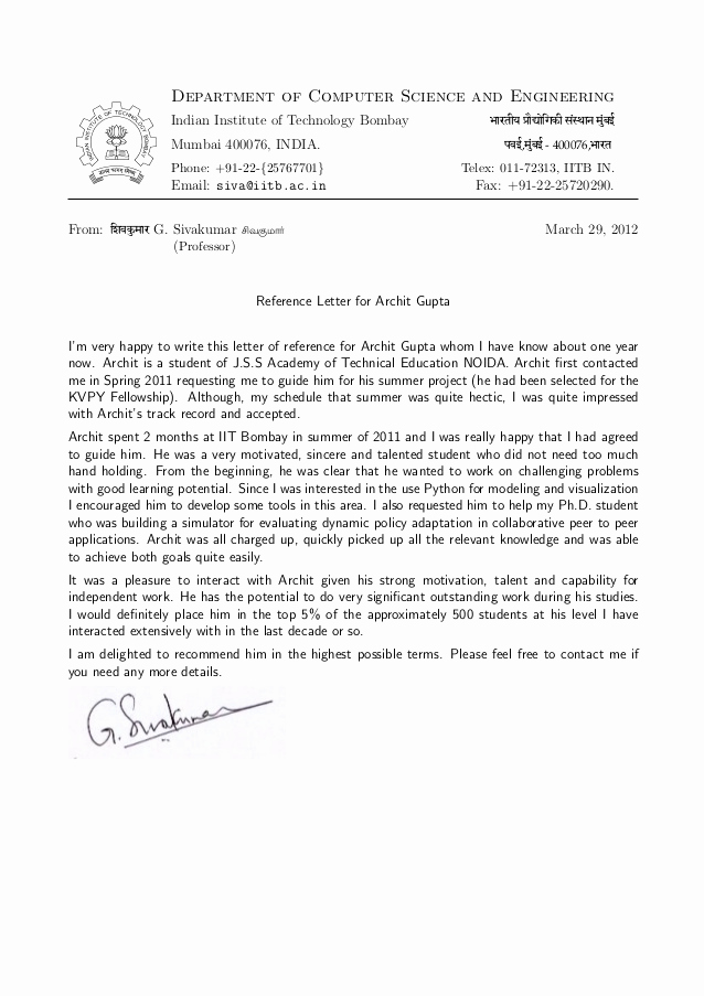 Letter Of Recommendation From Professor Best Of Re Mendation Letter Prof G Sivakumar H O D Cfdvs