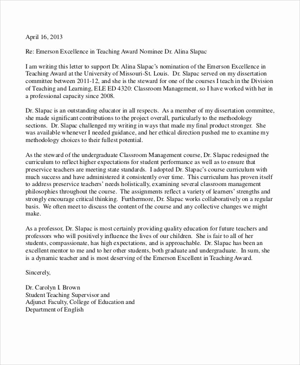 Letter Of Recommendation From Professor Fresh 11 Professor Re Mendation Letter Samples