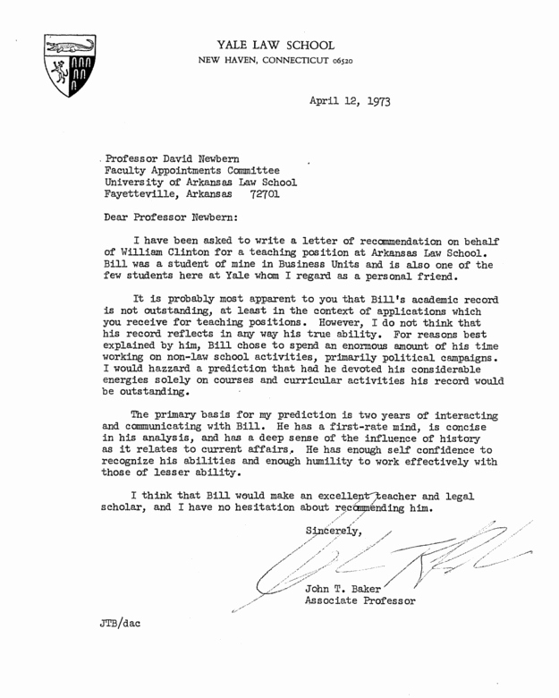 Letter Of Recommendation From Professor Fresh Here S Bill Clinton S Personnel File From His Time as An