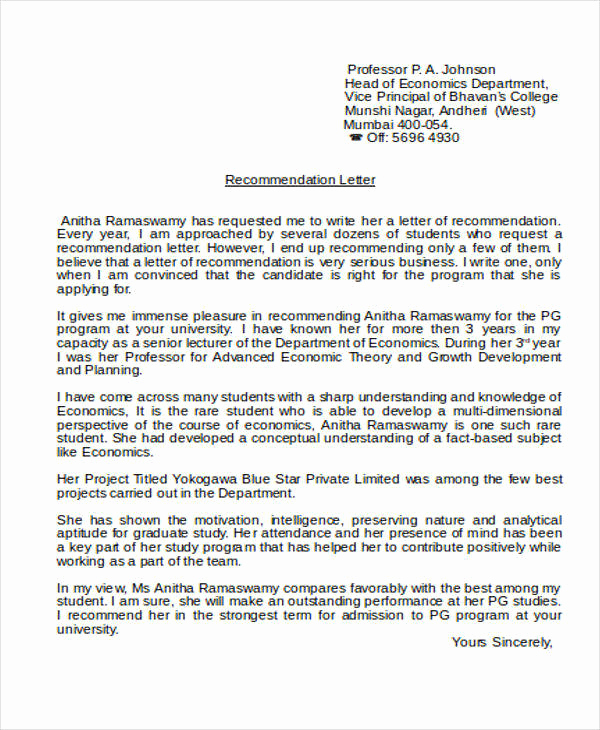 Letter Of Recommendation From Professor Fresh Sample Academic Reference Letter 5 Examples In Pdf Word