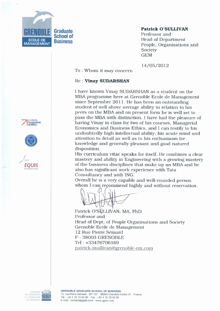 Letter Of Recommendation From Professor Inspirational Re Mendation Letter From Professor Of Economics