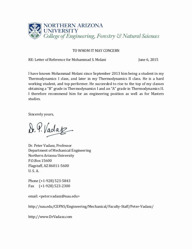 Letter Of Recommendation From Professor Lovely Dr Peter Vadasz Professor Re Mendation Letter
